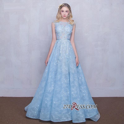 Fairy Sky-Blue Puffy Long Sheer A-line Lace-Appliques Prom Dress UKes UK_2