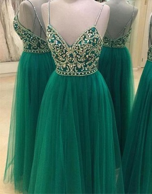 Green Beading Backless A-line Spaghetti Straps New-Arrival Evening Dress UK_1