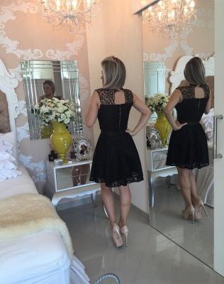 Elegant Black Short Lace Cocktail Dress UK Illusion Sleeveless Sash BA4283_3