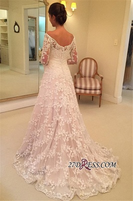 Off-the-Shoulder Long-Sleeves Appliques A-Line Buttons Lace Wedding Dresses UK_2