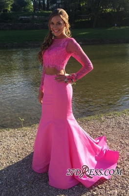 Mermaid Cute Two-Piece Long-sleeve Lace Prom Dress UK_2