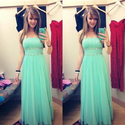 Newest Chiffon Strapless Prom Dress UK Beadings Sleeveless_3