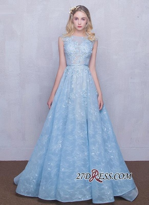 Fairy Sky-Blue Puffy Long Sheer A-line Lace-Appliques Prom Dress UKes UK_4