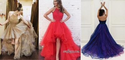 A-Line Halter Beading Low Prom Brilliant Dress UKes UK Tulle High Evening Dress UKes UK_2