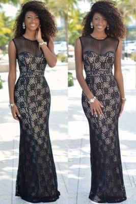Chic Illusion Mermaid Black Lace Tulle Prom Dress UK Sleeveless BK0_1