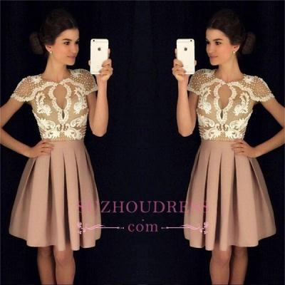 Newest Short-Sleeves Short Appliques A-Line Beadings Homecoming Dress UKes UK_1