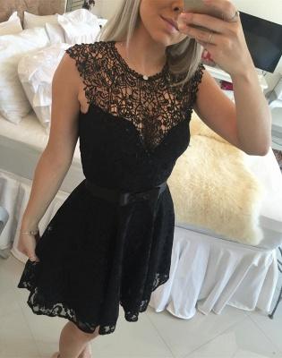 Elegant Black Short Lace Cocktail Dress UK Illusion Sleeveless Sash BA4283_1