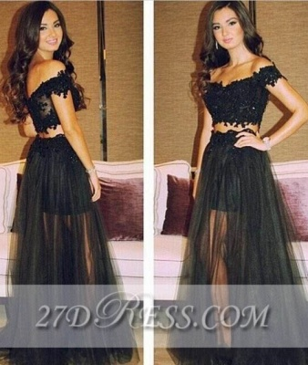 Separated Black Lace Prom Gowns Off-the-Shoulder A-Line Tulle Evening Dress UKes UK_1