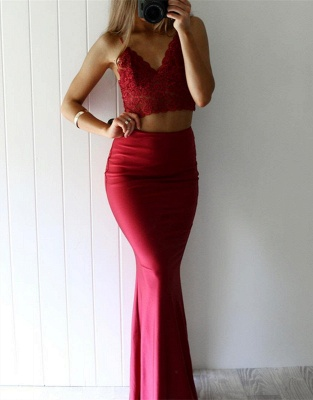 Luxury Red Lace Two Pieces Mermaid V-Neck Prom Dress UK_1