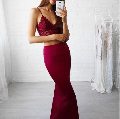 Luxury Red Lace Two Pieces Mermaid V-Neck Prom Dress UK_3