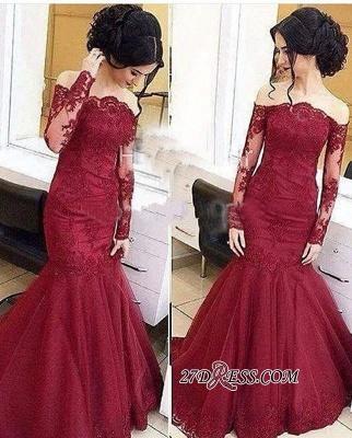 Mermaid Burgundy Long-Sleeve Tulle Amazing Lace Off-The-Shoulder Prom Dress UKes UK_1