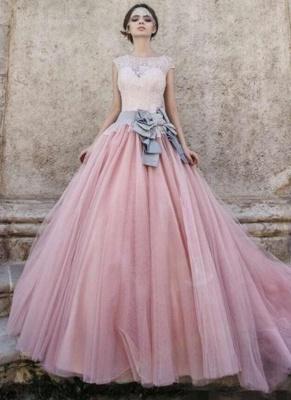 Ball-Gown Lace Bowknot Pink Capped-Sleeves Wedding Dress_1