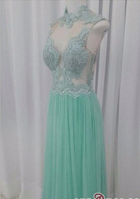 A-line Lace Floor-length High-neck Pearls Chic Evening Dress UK_1
