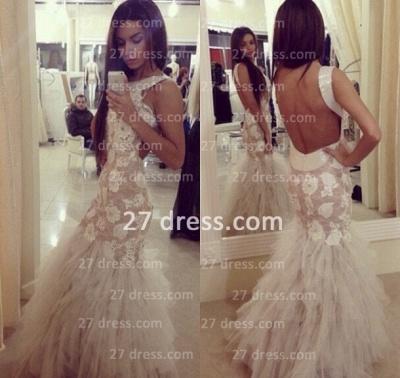 Vestido De Fiesta mermaid Prom gowns long Sleeveless Open Back Party Dress UK with Tulle Lace Appliques Sequined Tulle_2