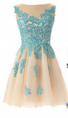 Lovely Illusion Cap Sleeve Short Homecoming Dress UK With Lace Appliques_1