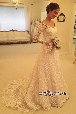 Off-the-Shoulder Long-Sleeves Appliques A-Line Buttons Lace Wedding Dresses UK_1