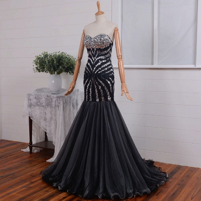 Elegant Sweetheart Mermaid Prom Dress UK Long With Crystals_4