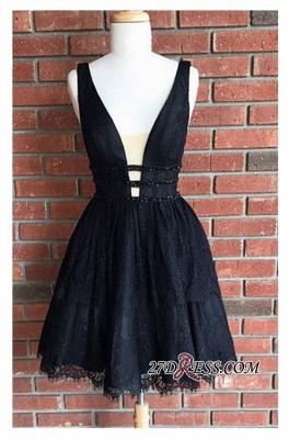 Short Lace Sleeveless Elegant Deep-V-Neck Black Homecoming Dress UKes UK_3