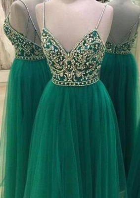 Green Beading Backless A-line Spaghetti Straps New-Arrival Evening Dress UK_2