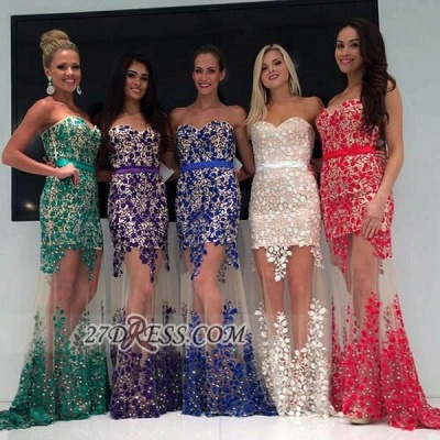Elegant Sweetheart Sleeveless Long Prom Dress UK With Lace Appliques Different Color_1