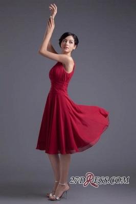 Luxury Chiffon Ruched Zipper Short Scoop Bridesmaid Dress UK_3