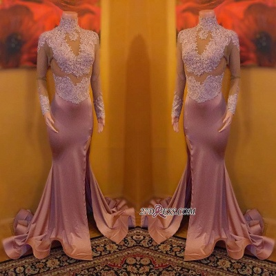 Sexy High-Neck Evening Gowns   Long Sleeve Prom Dress UK On Sale_1