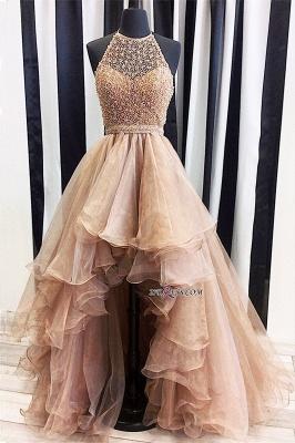 A-Line Halter Beading Low Prom Brilliant Dress UKes UK Tulle High Evening Dress UKes UK_3