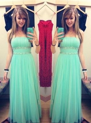 Newest Chiffon Strapless Prom Dress UK Beadings Sleeveless_1