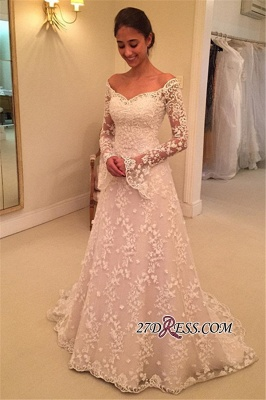Off-the-Shoulder Long-Sleeves Appliques A-Line Buttons Lace Wedding Dresses UK_4
