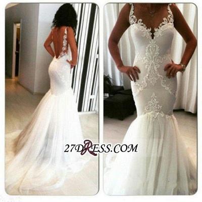 Sexy Mermaid  Sleeveless Tulle Appliques Open-Back Wedding Dresses UK BA3788_2
