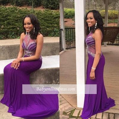 Mermaid Gorgeous Crystal Grape Sleeveless Halter Prom Dress UK BA5239_1