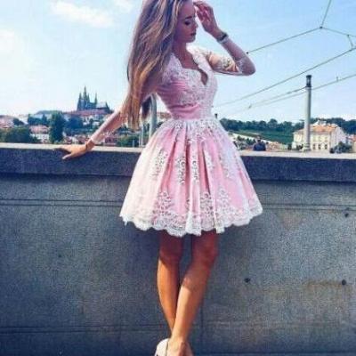 Long-Sleeves Lace Pink Short Deep-V-Neck Homecoming Dress UKes UK_3