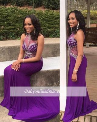 Mermaid Gorgeous Crystal Grape Sleeveless Halter Prom Dress UK BA5239_2