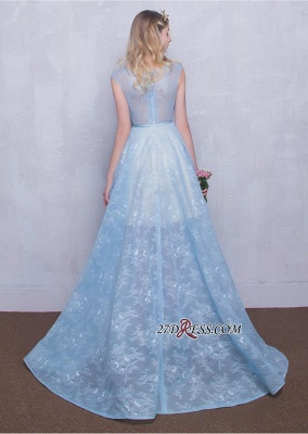 Fairy Sky-Blue Puffy Long Sheer A-line Lace-Appliques Prom Dress UKes UK_3