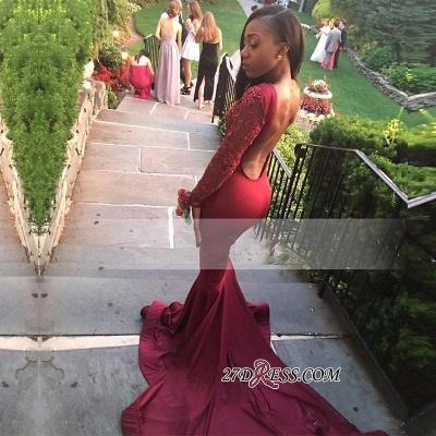 Long-Sleeve Appliques Burgundy Mermaid Sweep-Train Stunning Prom Dress UK BK0_1