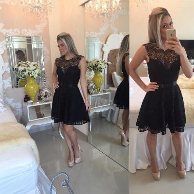 Elegant Black Short Lace Cocktail Dress UK Illusion Sleeveless Sash BA4283_4