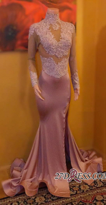 Sexy High-Neck Evening Gowns   Long Sleeve Prom Dress UK On Sale_2