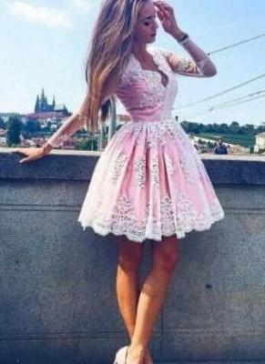 Long-Sleeves Lace Pink Short Deep-V-Neck Homecoming Dress UKes UK_4