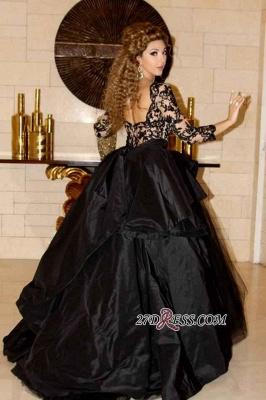 Deep-V-Neck Lace Sleeves Elegant Open-Back Black Prom Dress UK_2