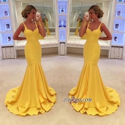 Yellow Simple Spaghetti-Straps Mermaid Prom Dress UK BA4070_1
