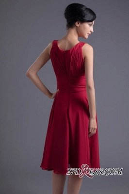 Luxury Chiffon Ruched Zipper Short Scoop Bridesmaid Dress UK_4