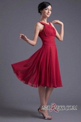 Luxury Chiffon Ruched Zipper Short Scoop Bridesmaid Dress UK_5