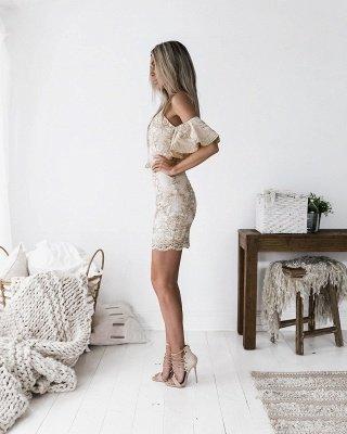 Chic Spaghetti-Straps Short Homecoming Dress UK | 2019 Sheath Lace Party Dress UK_3