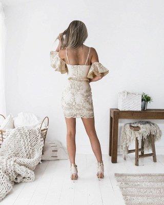 Chic Spaghetti-Straps Short Homecoming Dress UK | 2019 Sheath Lace Party Dress UK_4