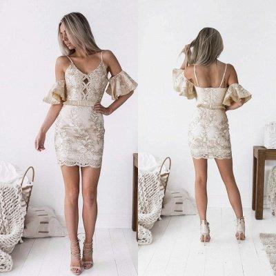 Chic Spaghetti-Straps Short Homecoming Dress UK | 2019 Sheath Lace Party Dress UK_5