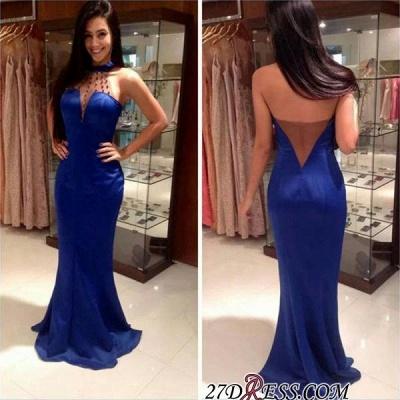 Open-Back Mermaid Blue High-Neck Sleeveless Long Evening Dress UKes UK_1
