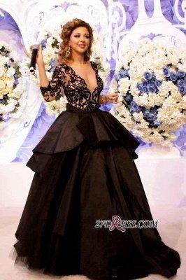 Deep-V-Neck Lace Sleeves Elegant Open-Back Black Prom Dress UK_3
