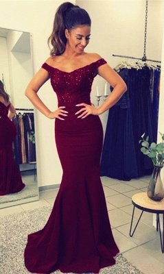 Lace Beadings Sexy Off-the-Shoulder Mermaid Long Evening Dress UK_1