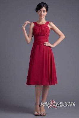 Luxury Chiffon Ruched Zipper Short Scoop Bridesmaid Dress UK_6