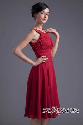 Luxury Chiffon Ruched Zipper Short Scoop Bridesmaid Dress UK_2
